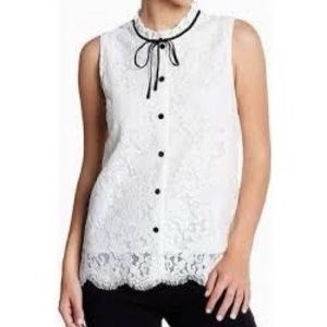 Cupcakes and cashmere white lace overlay blouse